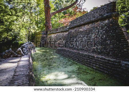 castle, building in ruins on a green swamp with water - stock photo