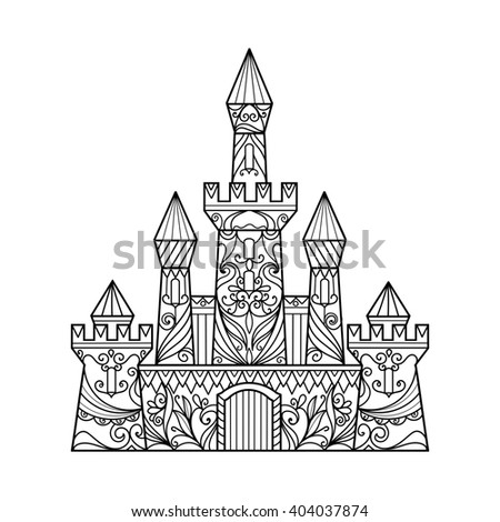 Castle coloring book for adults raster illustration. Anti-stress coloring for adult. Zentangle style. Black and white lines. Lace pattern - stock photo