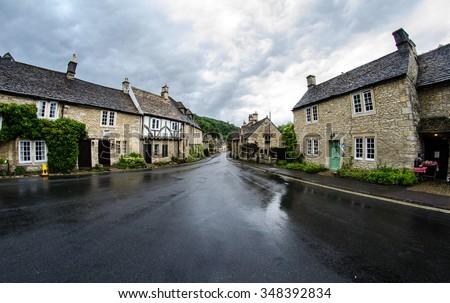 Castle Combe medieval village. - stock photo