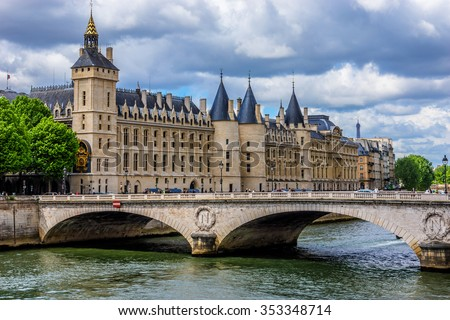 Castle Conciergerie - former royal palace and prison. Conciergerie located on the west of the Cite Island and today it is part of larger complex known as Palais de Justice. Paris, France.  - stock photo