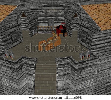 castle courtyard 3D - stock photo