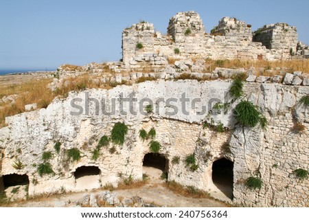 Castle Euralio over Siracusa on Sicily, Italy - stock photo