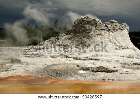Castle Geyser at Yellowstone National Park - stock photo