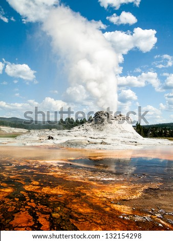 Castle Geyser erupts Yellowstone's Upper Geyser Basin not far from Old Faithful Geyser. - stock photo
