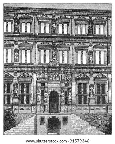 Castle - Heidelberg (Germany) - Vintage illustration / illustration from Meyers Konversations-Lexikon 1897 - stock photo