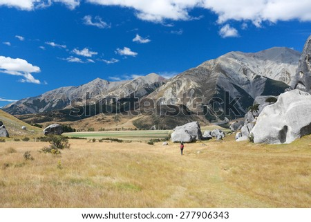 Castle Hill, Arthur's Pass National Park, New Zealand Beautiful landscape with gray stones and mountains on the background