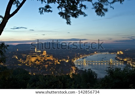 Castle Hill with Buda Castle and Matthias Church and the Chain Bridge over the Danube river - Budapest, Hungary - stock photo