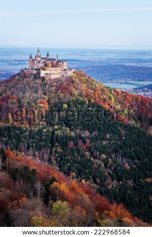 Castle Hohenzollern in autumn after Sunrise - stock photo
