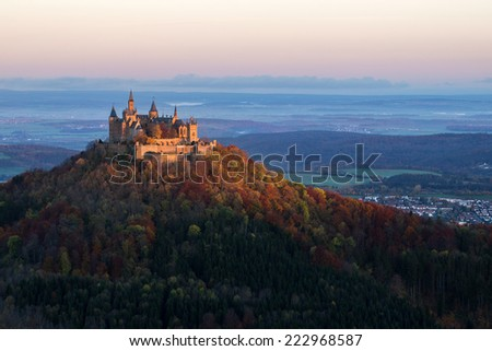Castle Hohenzollern in Autumn at sunrise