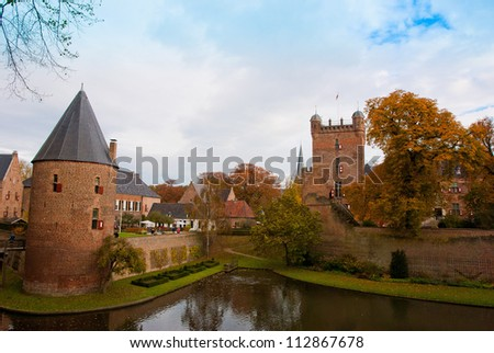 Castle huis ten berg at the Netherlands is one of the greatest castle of the country - stock photo