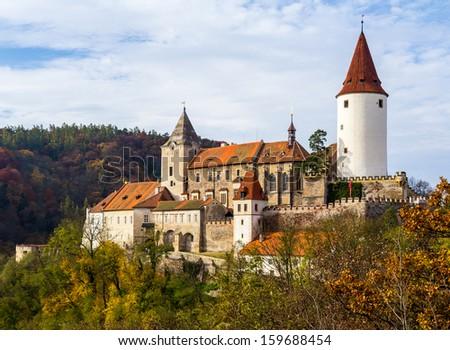 Castle in autumn landscape (Krivoklat, Central Europe) - stock photo