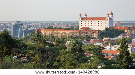 castle in Bratislava from Slavin - stock photo