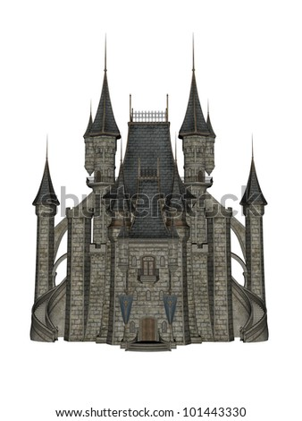 Castle in 3D over a white background. - stock photo