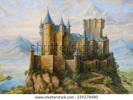 Castle in mountains. Sergey Voevodin 1998. oil canvas painting  - stock photo