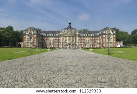 castle in Munster, Germany. Former residence for the prince-bishops, now it is the administrative center of the University of Munster. - stock photo