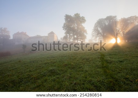 Castle in the mist - stock photo