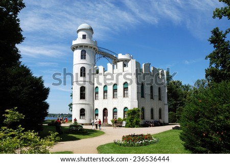 Castle in the romantic ruin style on the Peacock island in Berlin. - stock photo