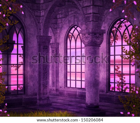 Castle Interior Fantasy Backdrop - stock photo