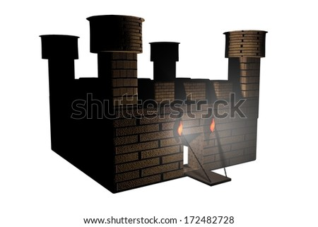 Castle isolated over white background, 3d render - stock photo