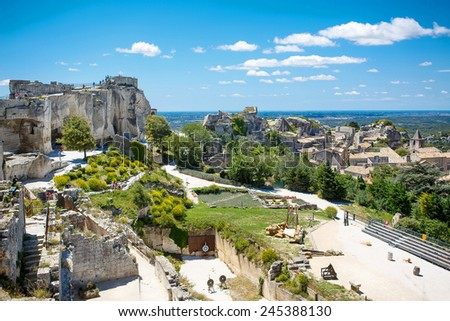 Castle Les Baux de-Provence, Provence, France on warm sunny day. - stock photo