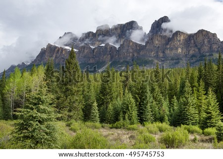 Castle mountain  and Eisenhower Tower in Banff national park, Canada
