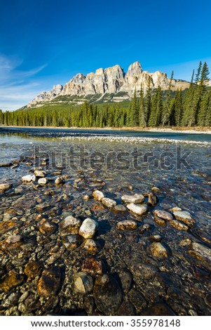 Castle Mountain and the Bow River, Banff National Park Alberta Canada - stock photo