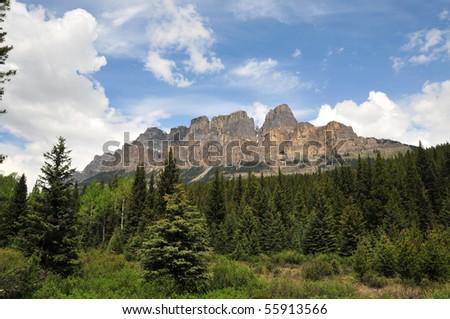 castle mountain, banff national park, canadian rockies - stock photo