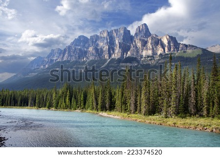 Castle Mountain & Bow River, Approximately 20 miles West of Banff, Banff National Park, Alberta, Canada.