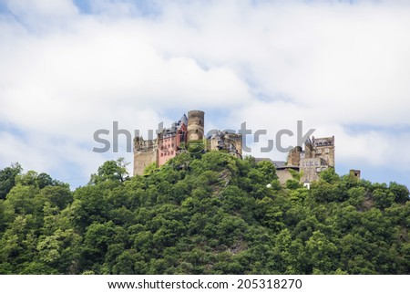 castle, Oberwesel Rhine river valley, Germany - stock photo
