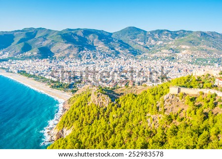 Castle of Alanya overlooking the city and the beach, one of the famous destinations in Turkey - stock photo