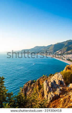 Castle of Alanya overlooking the city and the beach, one of the famous destinations in Turkey