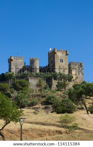 castle of Almodovar del Rio on the hilltop, Cordoba, Spain - stock photo