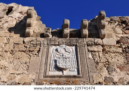 Castle of Antimachia at Kos island in Greece - stock photo