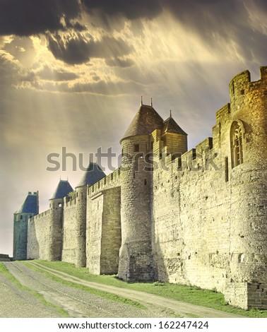 Castle of Carcassonne, France, UNESCO World Heritage site - stock photo