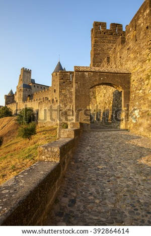 Castle of Carcassonne is a medieval fortified French town in the Region of Languedoc-Roussillon, France. - stock photo