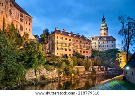 Castle of Cesky Krumlov by night, Bohemia, Czech Republic - stock photo