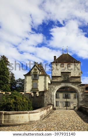 Castle of Oberhofen, Switzerland  - stock photo