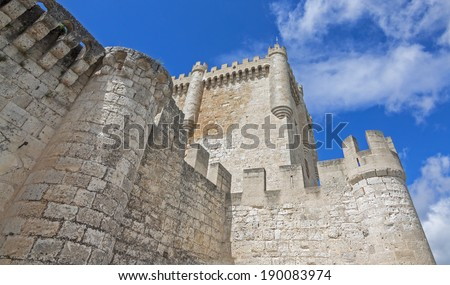 Castle of Peñafiel, Valladolid (Spain). - stock photo