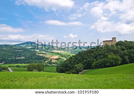 Castle of Pellegrino Parmense. Emilia-Romagna. Italy. - stock photo
