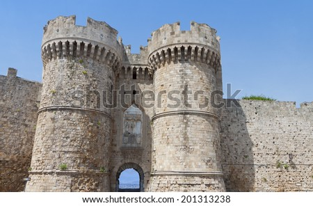 Castle of Saint John Knights at Rhodes island in Greece. The Sea Gate - stock photo