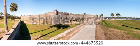 Castle of San Marcos, St Augustine. Panoramic view of medieval structure. - stock photo