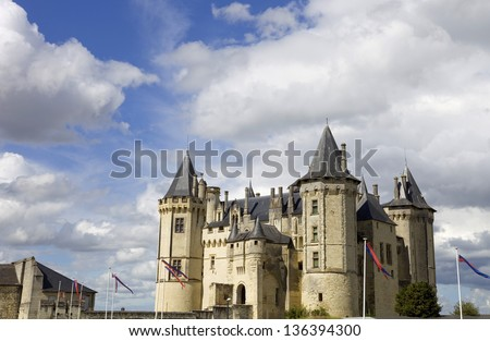 Castle of Saumur in loire valley, france - stock photo