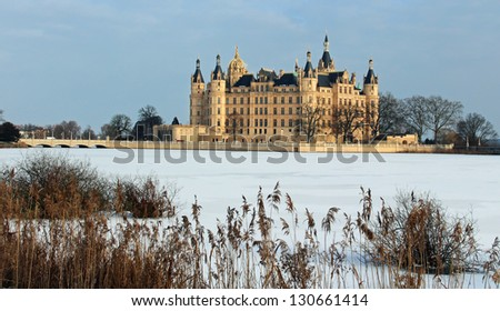 Castle of Schwerin in winter times - stock photo