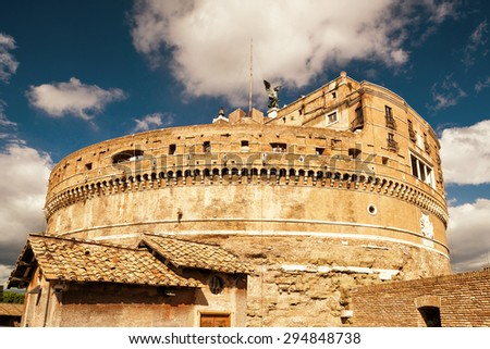 Castle of the Holy Angel (Castel Sant`Angelo) in Rome, Italy - stock photo