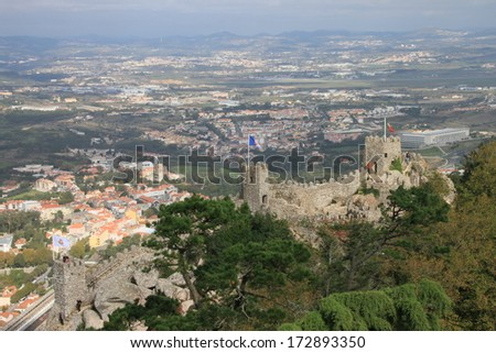 Castle of the Moors (Sintra, Lisbon, Portugal) - stock photo