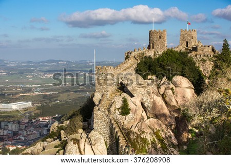 Castle of the Moors. Sintra. Portugal. - stock photo