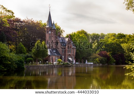 Castle on a lake in Bruges