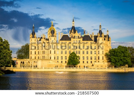 Castle on a lake (Schwerin in Germany) - stock photo