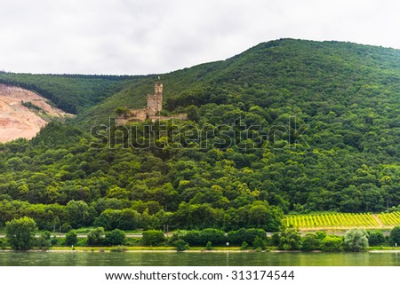 Castle on the coast of the river Rhine in Germany