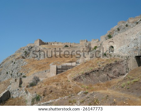 castle on the hill above ancient corinth in greece
